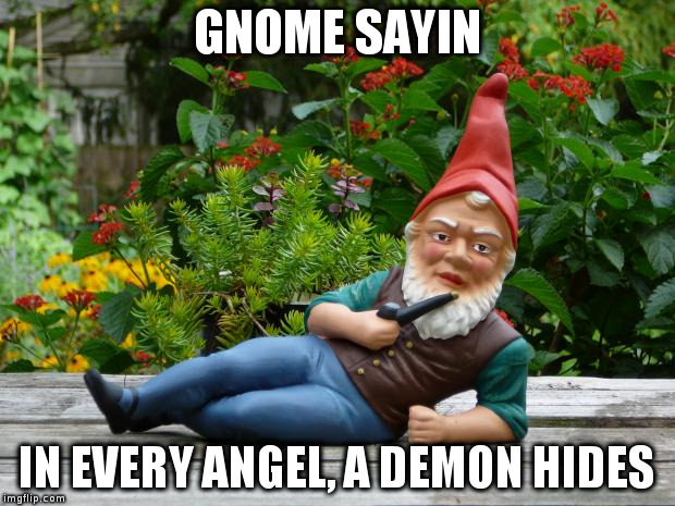 GNOME SAYIN IN EVERY ANGEL, A DEMON HIDES | image tagged in gnome sayin' | made w/ Imgflip meme maker