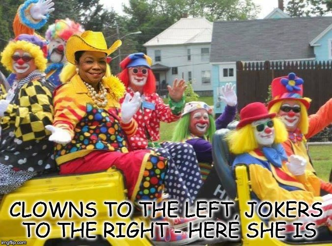 CLOWNS TO THE LEFT, JOKERS TO THE RIGHT - HERE SHE IS | image tagged in frederica wilson rodeo clown | made w/ Imgflip meme maker
