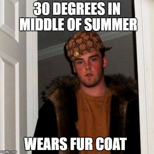 Scumbag Steve Meme | 30 DEGREES IN MIDDLE OF SUMMER WEARS FUR COAT | image tagged in memes,scumbag steve | made w/ Imgflip meme maker