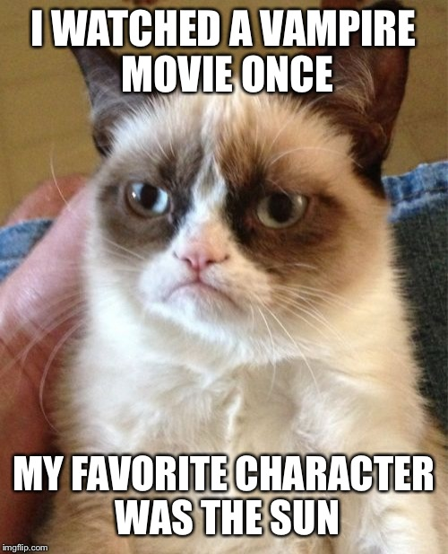 Grumpy Cat Meme | I WATCHED A VAMPIRE MOVIE ONCE MY FAVORITE CHARACTER WAS THE SUN | image tagged in memes,grumpy cat | made w/ Imgflip meme maker