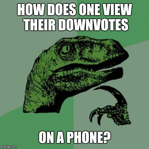 Philosoraptor Meme | HOW DOES ONE VIEW THEIR DOWNVOTES ON A PHONE? | image tagged in memes,philosoraptor | made w/ Imgflip meme maker