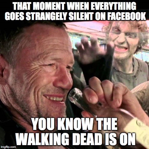 merle walking dead car | THAT MOMENT WHEN EVERYTHING GOES STRANGELY SILENT ON FACEBOOK YOU KNOW THE WALKING DEAD IS ON | image tagged in merle walking dead car | made w/ Imgflip meme maker