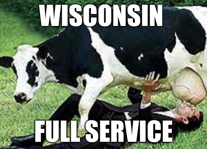 In the war of memes that l'm a sucker for cows.  | WISCONSIN FULL SERVICE | image tagged in udderly wrong | made w/ Imgflip meme maker
