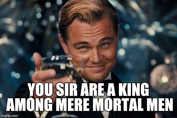 Leonardo Dicaprio Cheers Meme | YOU SIR ARE A KING AMONG MERE MORTAL MEN | image tagged in memes,leonardo dicaprio cheers | made w/ Imgflip meme maker