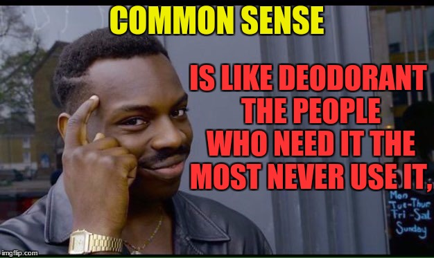 for all those people that dont ever use common sense because we all know common sense just isnt so common any more |  COMMON SENSE; IS LIKE DEODORANT THE PEOPLE WHO NEED IT THE MOST NEVER USE IT, | image tagged in common sense,deodorant,people | made w/ Imgflip meme maker