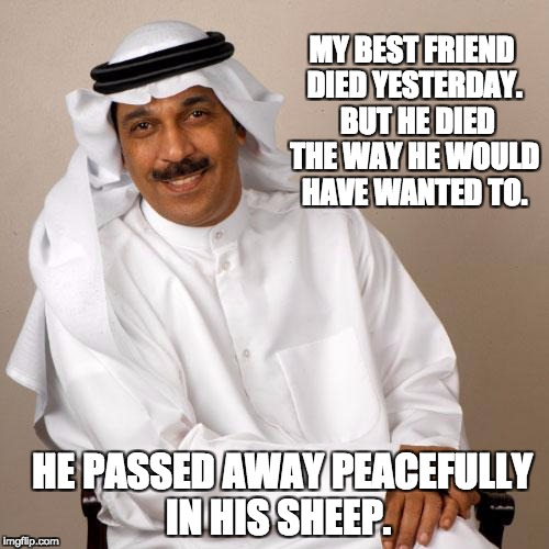 MY BEST FRIEND DIED YESTERDAY.  BUT HE DIED THE WAY HE WOULD HAVE WANTED TO. HE PASSED AWAY PEACEFULLY IN HIS SHEEP. | image tagged in arab | made w/ Imgflip meme maker