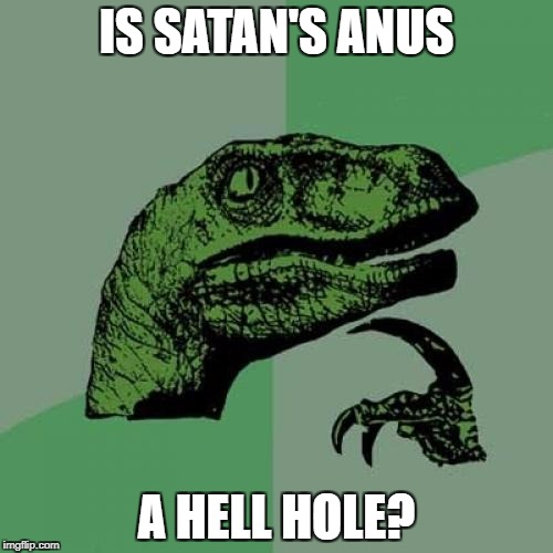 How to think next time you think of a place you don't like | IS SATAN'S ANUS A HELL HOLE? | image tagged in memes,philosoraptor | made w/ Imgflip meme maker