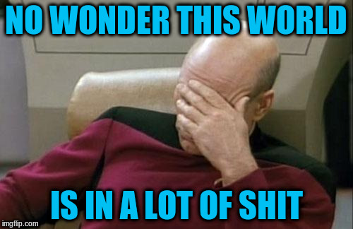 Captain Picard Facepalm Meme | NO WONDER THIS WORLD IS IN A LOT OF SHIT | image tagged in memes,captain picard facepalm | made w/ Imgflip meme maker