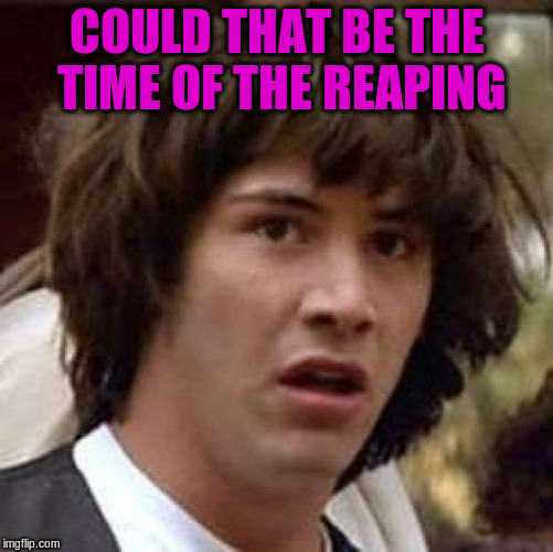 Conspiracy Keanu Meme | COULD THAT BE THE TIME OF THE REAPING | image tagged in memes,conspiracy keanu | made w/ Imgflip meme maker