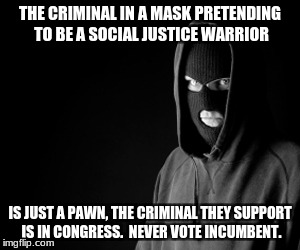 Criminal | THE CRIMINAL IN A MASK PRETENDING TO BE A SOCIAL JUSTICE WARRIOR IS JUST A PAWN, THE CRIMINAL THEY SUPPORT IS IN CONGRESS.  NEVER VOTE INCUM | image tagged in criminal | made w/ Imgflip meme maker