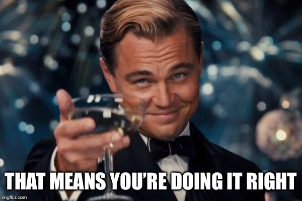Leonardo Dicaprio Cheers Meme | THAT MEANS YOU'RE DOING IT RIGHT | image tagged in memes,leonardo dicaprio cheers | made w/ Imgflip meme maker