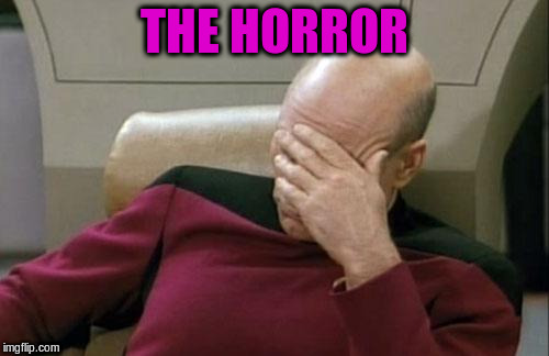 Captain Picard Facepalm Meme | THE HORROR | image tagged in memes,captain picard facepalm | made w/ Imgflip meme maker