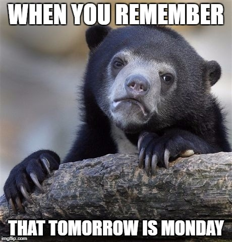 Confession Bear Meme | WHEN YOU REMEMBER THAT TOMORROW IS MONDAY | image tagged in memes,confession bear | made w/ Imgflip meme maker