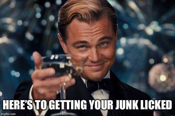 Leonardo Dicaprio Cheers Meme | HERE'S TO GETTING YOUR JUNK LICKED | image tagged in memes,leonardo dicaprio cheers | made w/ Imgflip meme maker