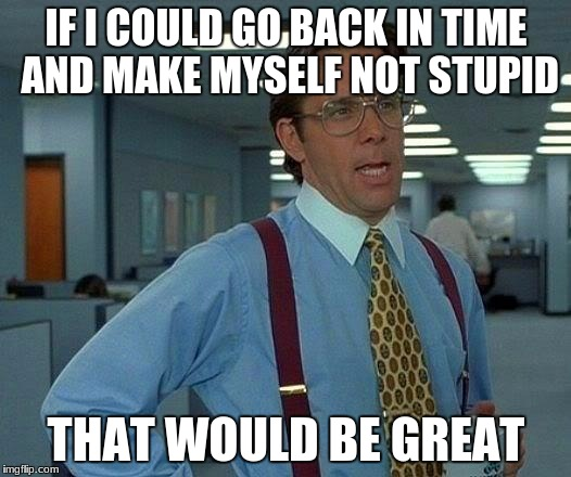 That Would Be Great Meme | IF I COULD GO BACK IN TIME AND MAKE MYSELF NOT STUPID THAT WOULD BE GREAT | image tagged in memes,that would be great | made w/ Imgflip meme maker