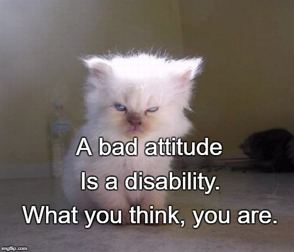 A bad attitude What you think, you are. Is a disability. | image tagged in bad attitude | made w/ Imgflip meme maker