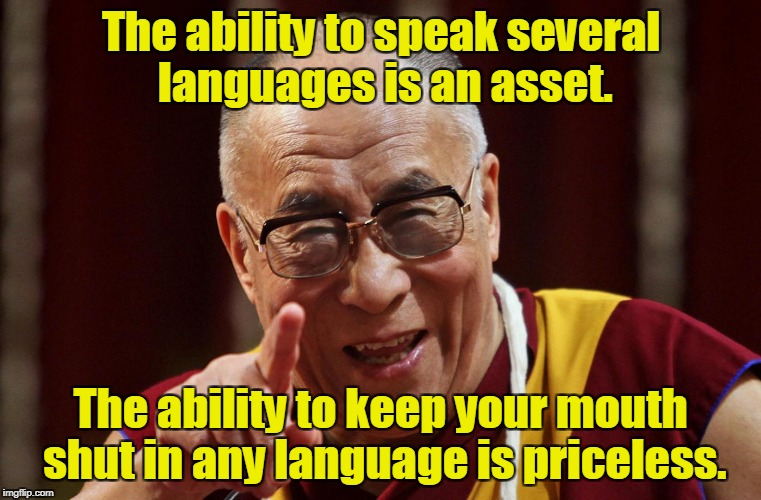 Dali Lama | The ability to speak several languages is an asset. The ability to keep your mouth shut in any language is priceless. | image tagged in dali lama | made w/ Imgflip meme maker