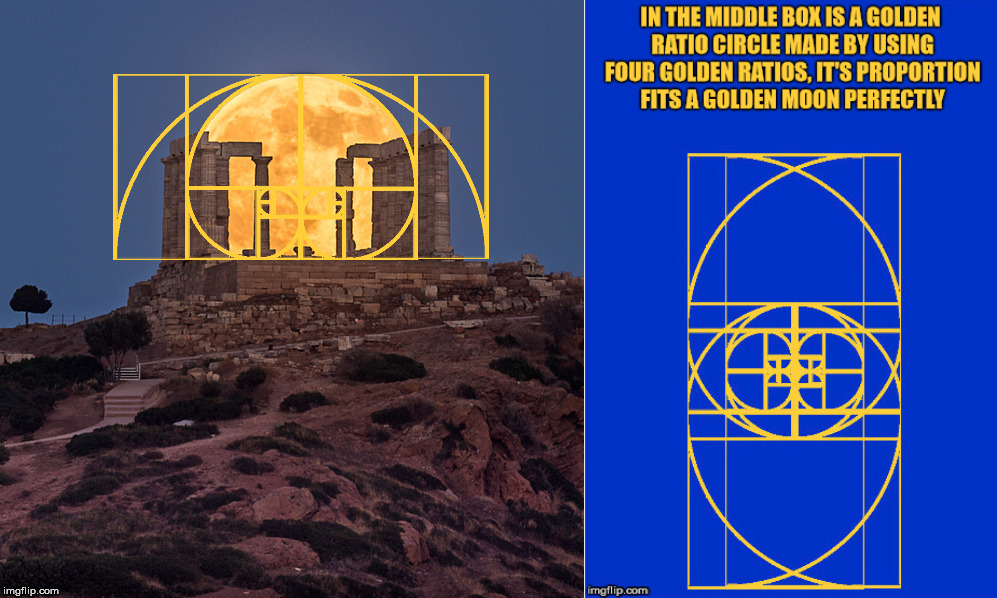 The Golden ratio and a Supermoon. | image tagged in moon,golden ratio,mathematics,light | made w/ Imgflip meme maker