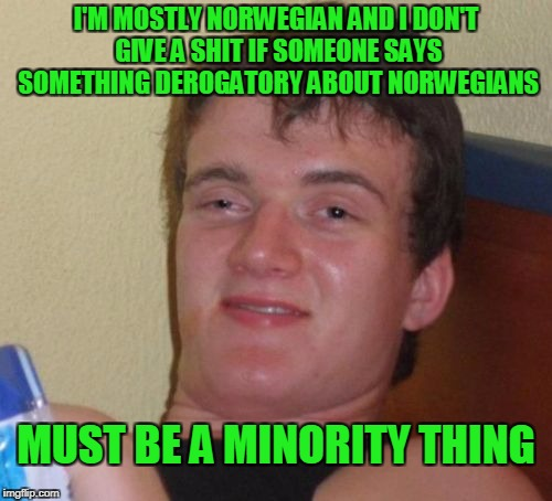 Taking offense is a pastime for some people | I'M MOSTLY NORWEGIAN AND I DON'T GIVE A SHIT IF SOMEONE SAYS SOMETHING DEROGATORY ABOUT NORWEGIANS MUST BE A MINORITY THING | image tagged in memes,10 guy | made w/ Imgflip meme maker