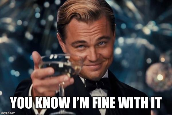 Leonardo Dicaprio Cheers Meme | YOU KNOW I'M FINE WITH IT | image tagged in memes,leonardo dicaprio cheers | made w/ Imgflip meme maker