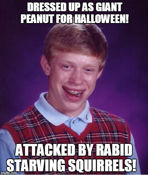 Peanut Envy! | DRESSED UP AS GIANT PEANUT FOR HALLOWEEN! ATTACKED BY RABID STARVING SQUIRRELS! | image tagged in memes,bad luck brian,halloween | made w/ Imgflip meme maker