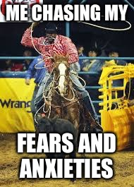 ME CHASING MY FEARS AND ANXIETIES | image tagged in black rodeo/fears | made w/ Imgflip meme maker