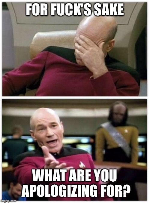When people are offended by everything  | FOR F**K'S SAKE WHAT ARE YOU APOLOGIZING FOR? | image tagged in picard frustrated,nsfw | made w/ Imgflip meme maker