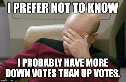 Captain Picard Facepalm Meme | I PREFER NOT TO KNOW I PROBABLY HAVE MORE DOWN VOTES THAN UP VOTES. | image tagged in memes,captain picard facepalm | made w/ Imgflip meme maker