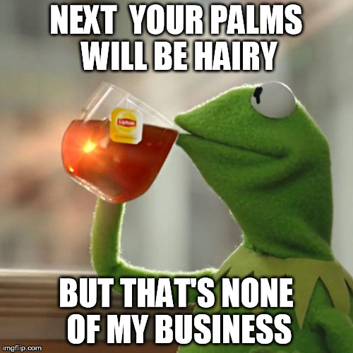 But Thats None Of My Business Meme | NEXT  YOUR PALMS WILL BE HAIRY BUT THAT'S NONE OF MY BUSINESS | image tagged in memes,but thats none of my business,kermit the frog | made w/ Imgflip meme maker