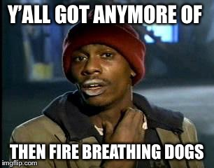 Y'all Got Any More Of That Meme | Y'ALL GOT ANYMORE OF THEN FIRE BREATHING DOGS | image tagged in memes,yall got any more of | made w/ Imgflip meme maker