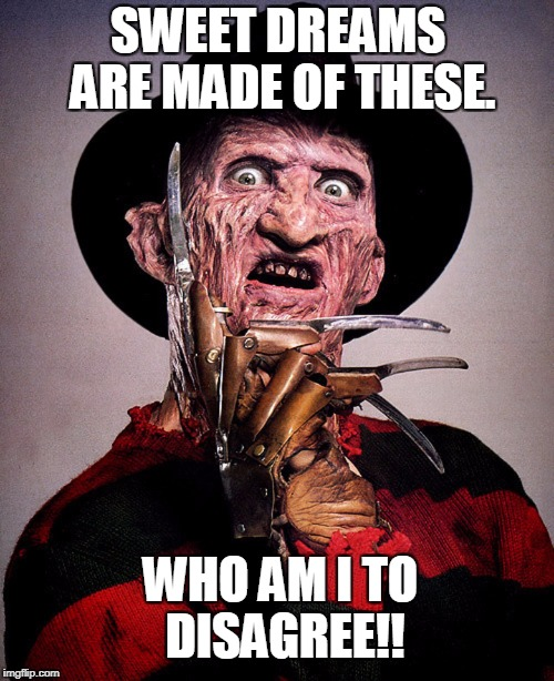 Freddy Krueger | SWEET DREAMS ARE MADE OF THESE. WHO AM I TO DISAGREE!! | image tagged in freddy krueger | made w/ Imgflip meme maker