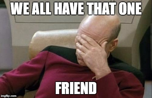 Captain Picard Facepalm Meme | WE ALL HAVE THAT ONE FRIEND | image tagged in memes,captain picard facepalm | made w/ Imgflip meme maker