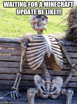 Waiting Skeleton Meme | WAITING FOR A MINECRAFT UPDATE BE LIKE!!! | image tagged in memes,waiting skeleton | made w/ Imgflip meme maker