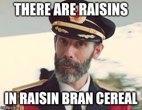 Captain Obvious | THERE ARE RAISINS IN RAISIN BRAN CEREAL | image tagged in captain obvious | made w/ Imgflip meme maker