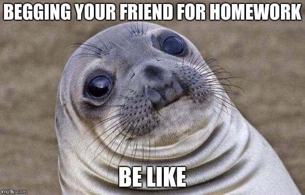 Awkward Moment Sealion Meme | BEGGING YOUR FRIEND FOR HOMEWORK BE LIKE | image tagged in memes,awkward moment sealion | made w/ Imgflip meme maker