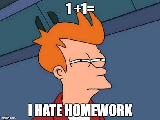 Futurama Fry Meme | 1 +1= I HATE HOMEWORK | image tagged in memes,futurama fry | made w/ Imgflip meme maker