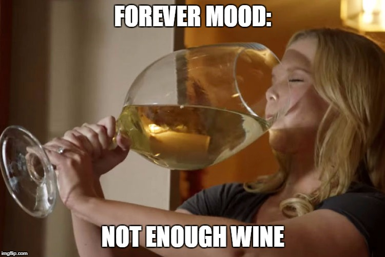 big glass of wine | FOREVER MOOD: NOT ENOUGH WINE | image tagged in big glass of wine | made w/ Imgflip meme maker