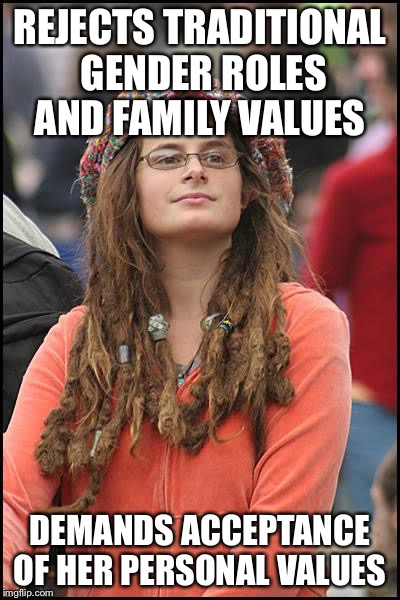 REJECTS TRADITIONAL GENDER ROLES AND FAMILY VALUES DEMANDS ACCEPTANCE OF HER PERSONAL VALUES | made w/ Imgflip meme maker