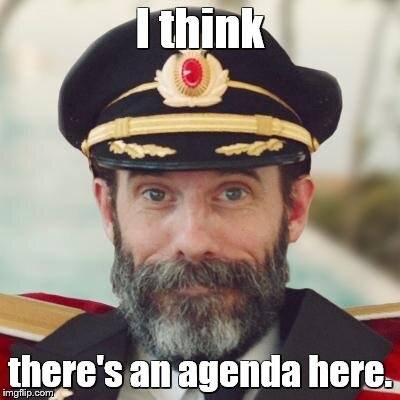 captain obvious | I think there's an agenda here. | image tagged in captain obvious | made w/ Imgflip meme maker