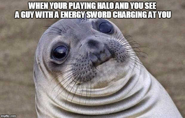 Awkward Moment Sealion Meme | WHEN YOUR PLAYING HALO AND YOU SEE A GUY WITH A ENERGY SWORD CHARGING AT YOU | image tagged in memes,awkward moment sealion | made w/ Imgflip meme maker
