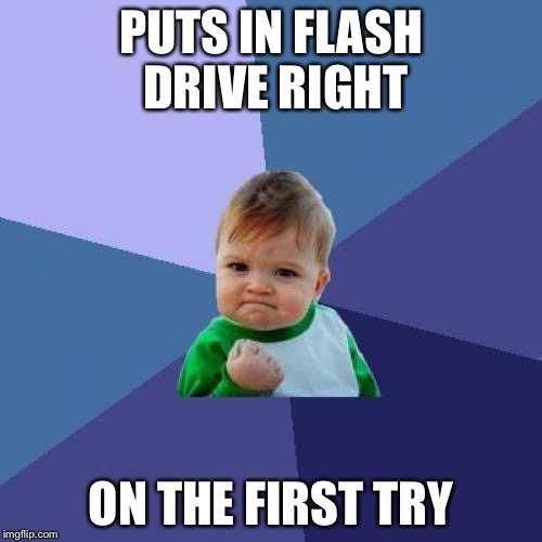 He did the impossible  | PUTS IN FLASH DRIVE RIGHT ON THE FIRST TRY | image tagged in memes,success kid,impossible,first time,too many tags | made w/ Imgflip meme maker