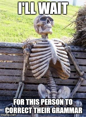 Waiting Skeleton Meme | I'LL WAIT FOR THIS PERSON TO CORRECT THEIR GRAMMAR | image tagged in memes,waiting skeleton | made w/ Imgflip meme maker
