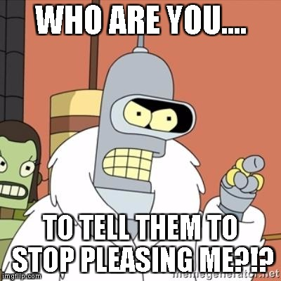 Bender | WHO ARE YOU.... TO TELL THEM TO STOP PLEASING ME?!? | image tagged in bender | made w/ Imgflip meme maker