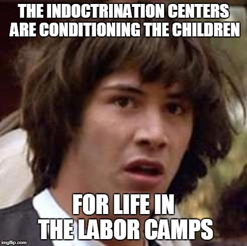 Conspiracy Keanu Meme | THE INDOCTRINATION CENTERS ARE CONDITIONING THE CHILDREN FOR LIFE IN THE LABOR CAMPS | image tagged in memes,conspiracy keanu | made w/ Imgflip meme maker