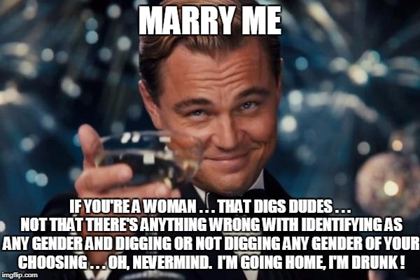 Leonardo Dicaprio Cheers Meme | MARRY ME IF YOU'RE A WOMAN . . . THAT DIGS DUDES . . . NOT THAT THERE'S ANYTHING WRONG WITH IDENTIFYING AS ANY GENDER AND DIGGING OR NOT DIG | image tagged in memes,leonardo dicaprio cheers | made w/ Imgflip meme maker