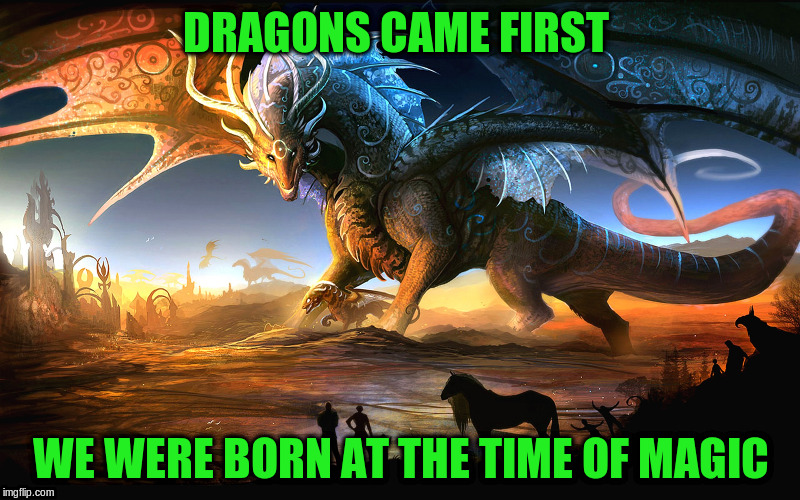 DRAGONS CAME FIRST WE WERE BORN AT THE TIME OF MAGIC | made w/ Imgflip meme maker