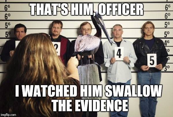 THAT'S HIM, OFFICER I WATCHED HIM SWALLOW THE EVIDENCE | made w/ Imgflip meme maker