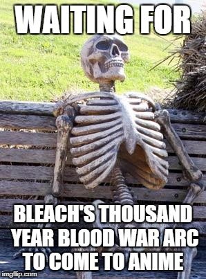 Waiting Skeleton Meme | WAITING FOR BLEACH'S THOUSAND YEAR BLOOD WAR ARC TO COME TO ANIME | image tagged in memes,waiting skeleton | made w/ Imgflip meme maker