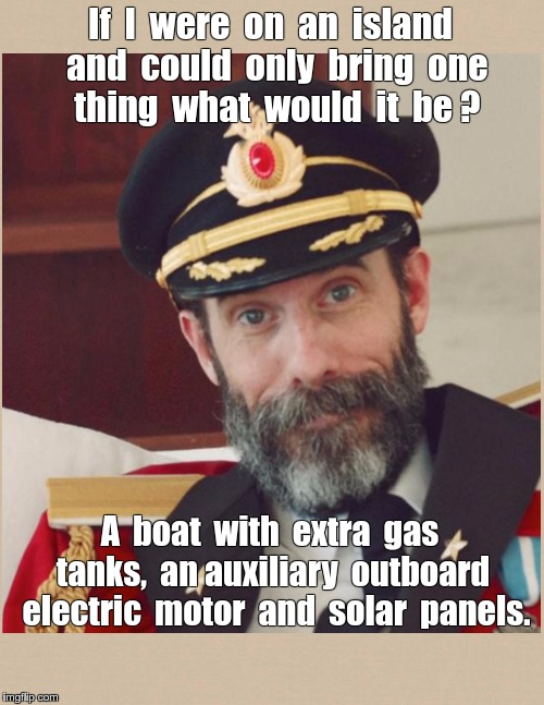 Captain Obvious on an Island | If  I  were  on  an  island  and  could  only  bring  one    thing  what  would  it  be ? A  boat  with  extra  gas  tanks,  an auxiliary  o | image tagged in memes,captain obvious,desert island | made w/ Imgflip meme maker
