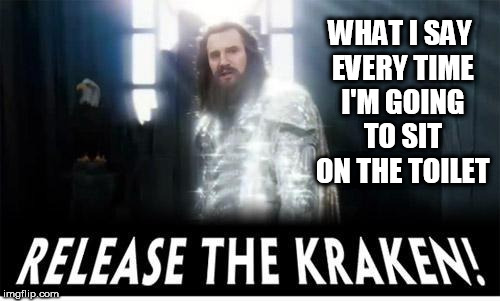 release the kraken | WHAT I SAY EVERY TIME I'M GOING TO SIT ON THE TOILET | image tagged in release the kraken,toilet,shit,crap,toilets,zeus | made w/ Imgflip meme maker